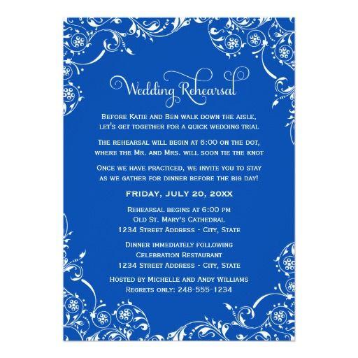Wedding Rehearsal Dinner | White Scroll Design Card