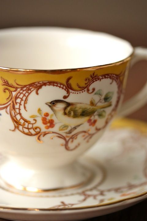 Gold and white bird teacup.