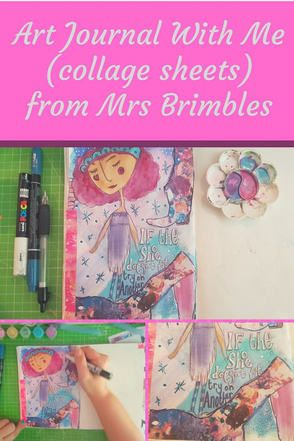Art journal process for Mrs Brimbles Creative team using the Patreon collage sheets. Video tutorial and images. Kerrymay._.Makes