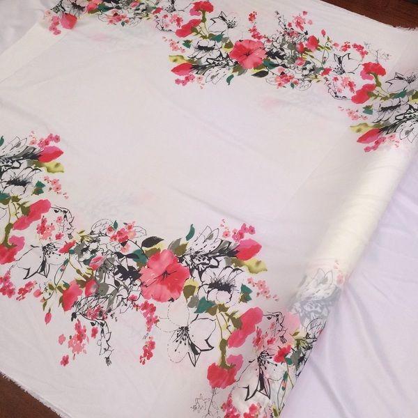 Bilateral positioning printed chiffon fabric painting fabric skirt dress