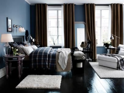 Rich Blue Bedroom With Brown and White Accents
