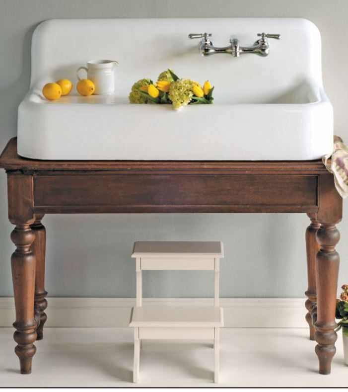 If you're building a farmhouse or looking to remodel a bathroom, hereare some fabulous farmhouse washstand options! Create a one of a kind look by retrofitting an antique table into a farmhouse sink vanity! I looooooove this washstand! Vintage inspired gorgeousness! The absolute BEST double sink vanity I have ever come across! The perfect combination of rustic and chic! Clean, classic perfection! I am just crazy about trough sinks! Perfect for a kids bathroom or a killer laundry room sin...