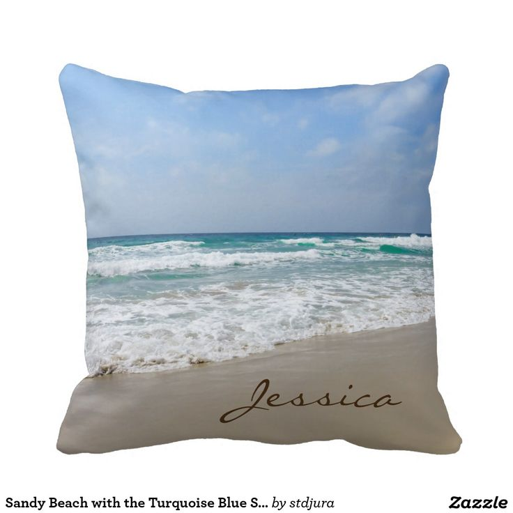 Sandy Beach with the Turquoise Blue Sea Name Throw Pillow