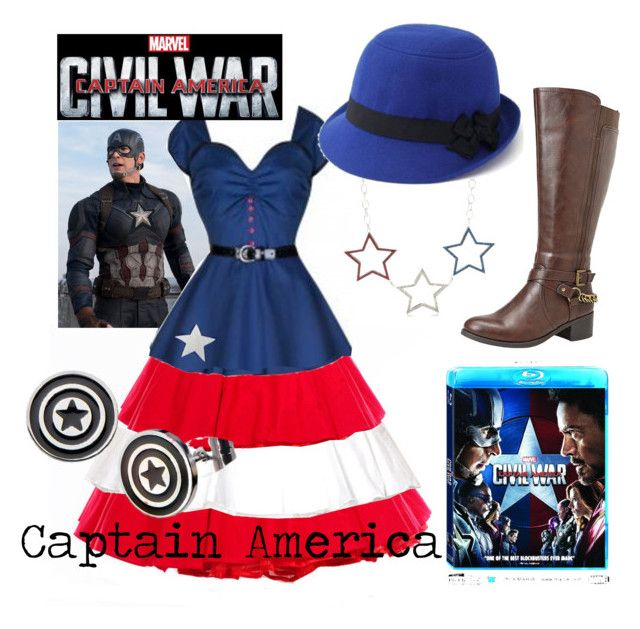 """""""Captain America (A Marvel-Inspired Outfit)"""" by one-little-spark ❤ liked on Polyvore featuring Avenue, Red Camel, Marvel, contestentry and CaptainAmericaCivilWar"""