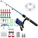 Kids Fishing PoleLight and Portable Telescopic Fishing Rod and Reel Combos for Youth Fishing by PLUSINNO