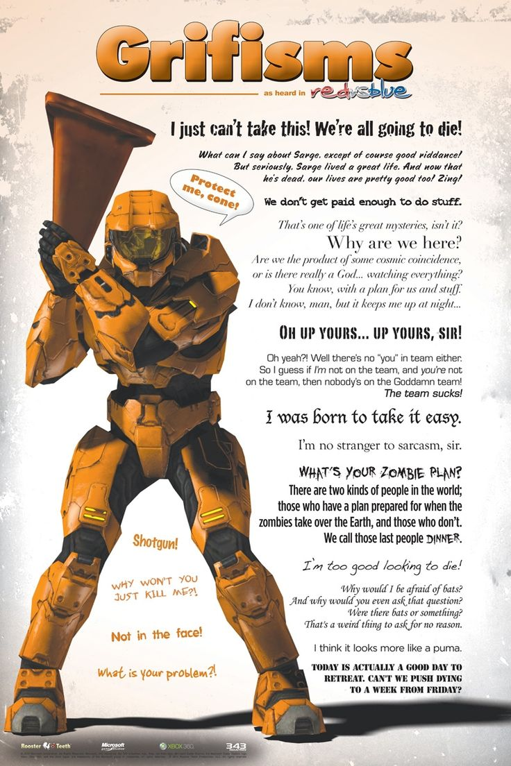 "Rooster Teeth · Grifisms Poster (24"" x 36"") - Red vs Blue"