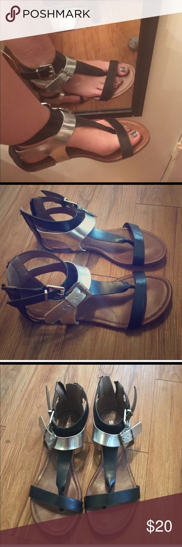 Gladiator sandals Black and silver zip up gladiator sandals excellent condition Shoes Sandals