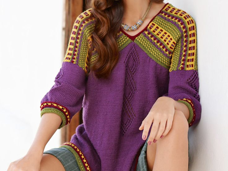 DIY-Anleitung: Weiten Pullover im Ethno-Look stricken / knitting pattern for a summerly oversized shirt via DaWanda.com