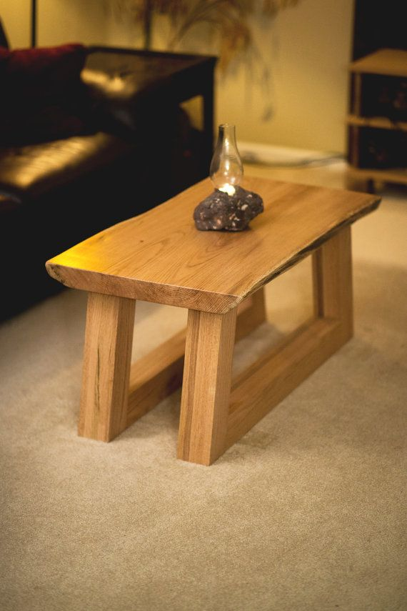 live edge slab oak coffee table heavy solid and sturdy table rh pinterest com