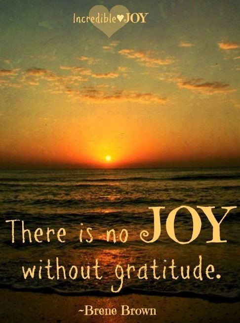There is no joy without gratitude - Brene Brown
