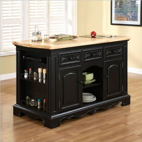 Powell Furniture Pennfield Butcher Block Black Kitchen Island by Powell Furniture, http://www ...