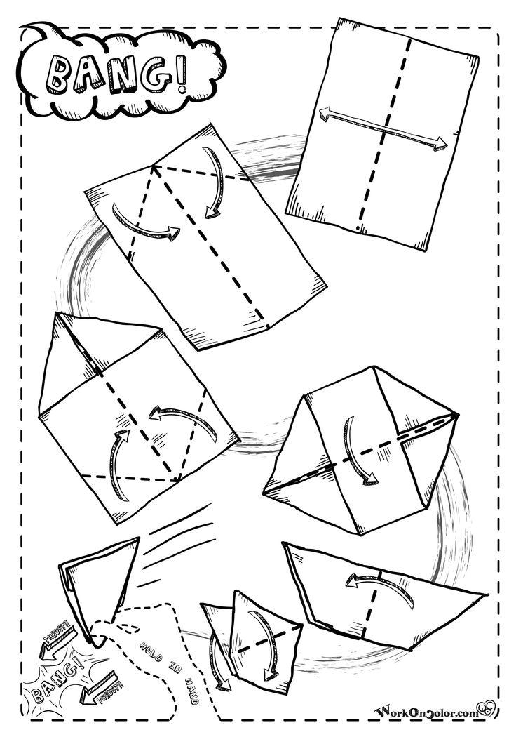 Easy origami game, fold and thrust, it will make a bang! Ready tu print on A4 ** Origami facile, piega e colpisci l'aria come indicato. Produrrà un bang! Pronto per essere stampato su A4