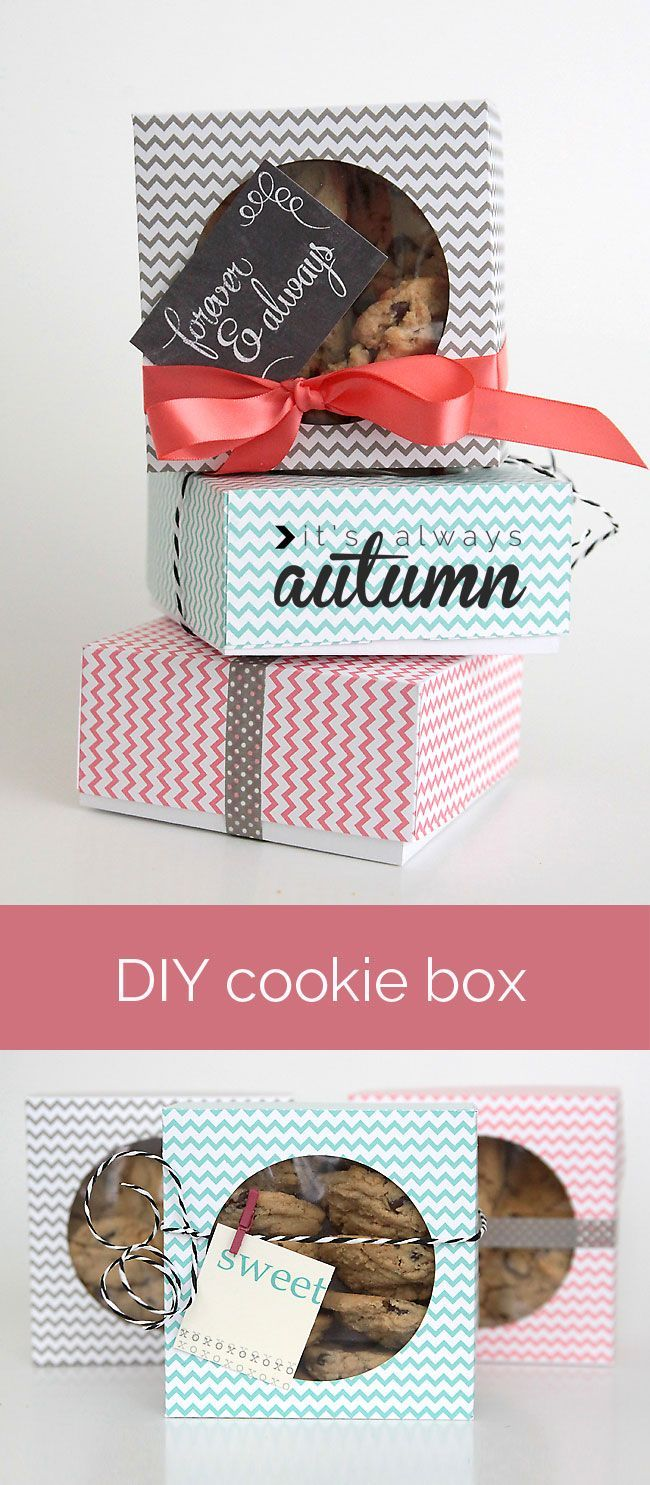 make an adorable box for gifting cookies or treats from folded cardstock or paper with this easy tutorial - put all that left over scrapbook paper to good use!