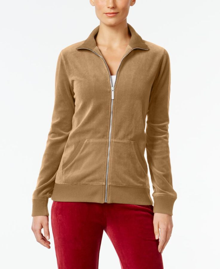 Michael Michael Kors Petite Velour Zip-Up Jacket