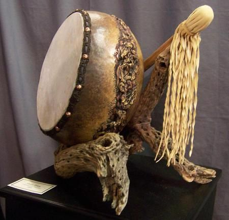 Ocean Drum. Carved and Sculptured Gourds Created with Passion by Phyllis Sickles