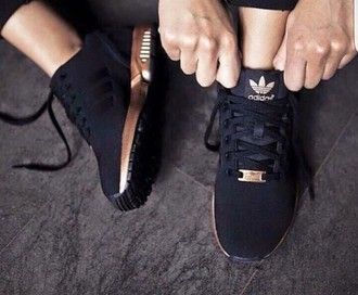 shoes black and gold zx flux adidas