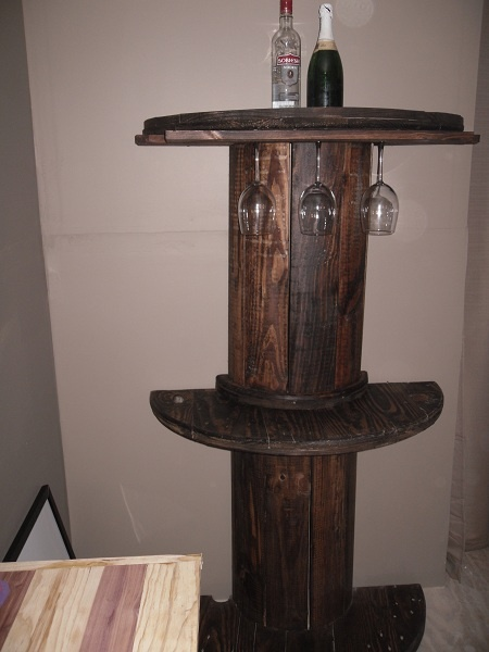 Bar Was Made From A Wire Spool I Cut In Half Wire Spool