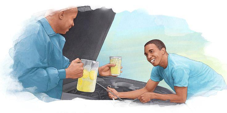 Um rapaz conserta um carro e um homem lhe oferece uma bebida gelada