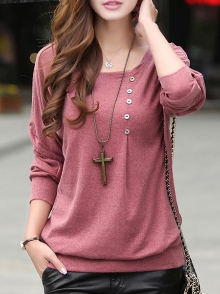 Designed Round Neck  Batwing Plain Long-sleeve-t-shirt Long sleeve T-shirts from fashionmia.com