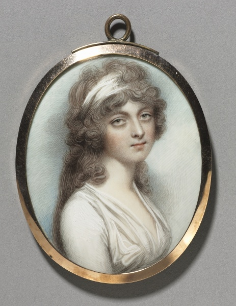 Portrait of Anna Walmesley, by Andrew Plimer, pupil of Richard Cosway. Watercolor on ivory. (1795)