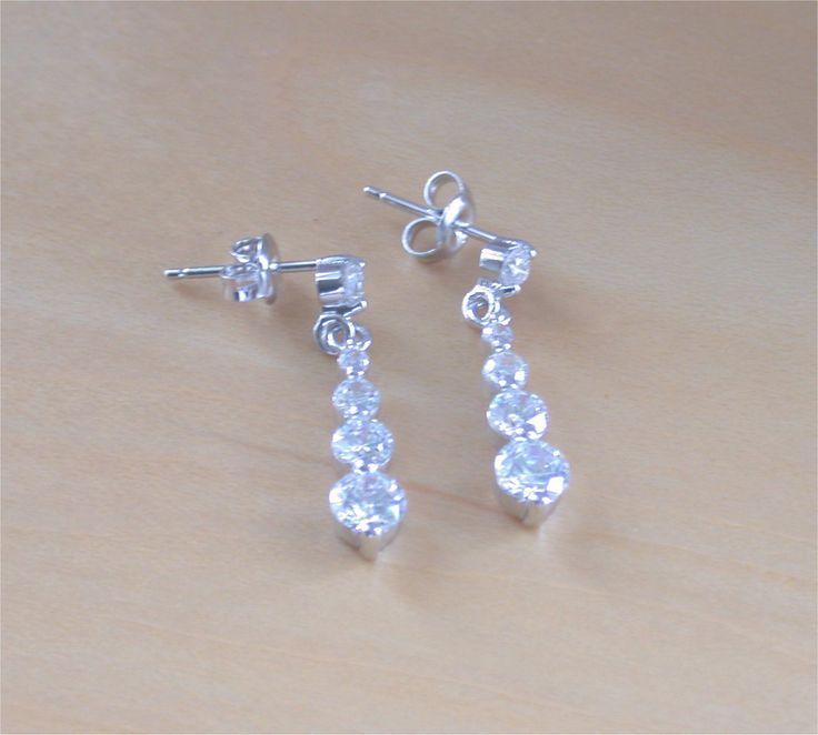 925 Cubic Zirconia Drop Earrings/925 Silver Crystal Earrings/Clear CZ Earrings/Cz Jewelry/CZ Chandelier Earrings/Cz Jewellery/Cz Jewelery by joannasjewellerycouk on Etsy