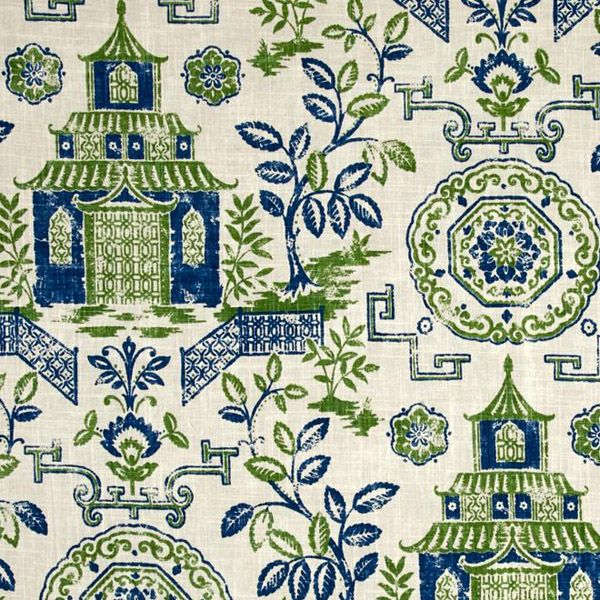 This is a green, blue and natural oriental floral toile cotton drapery fabric, suitable for any decor. Perfect for pillows, drapes and bedding. $12.95