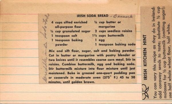 Irish Soda Bread Recipe  Vintage Newspaper Clipping