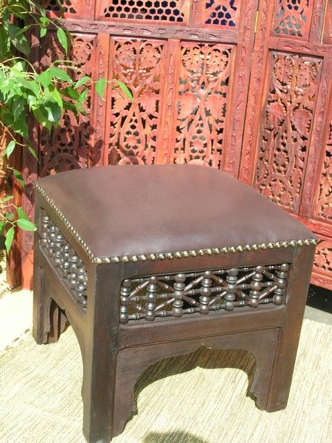 Detailed moucharaby work on this leather topped stool bring in the classic Moroccan workmanship. Create this look at home http://www.maroque.co.uk/showitem.aspx?id=ENT03505&p=04051