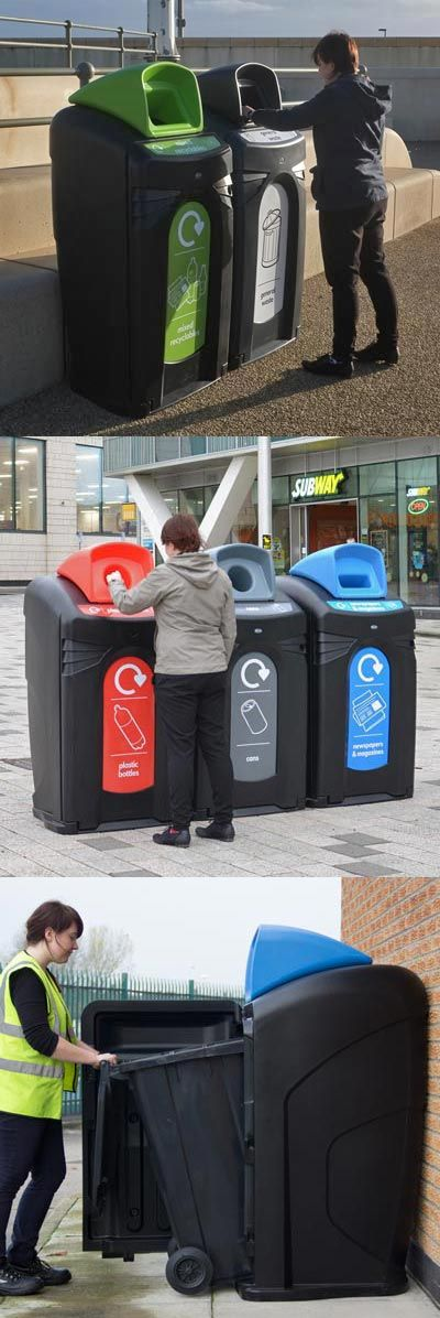 The Nexus® City 140 and 240 recycling units are designed to help with the issue of on-street recycling by creating an obvious and noticeable recycling point.