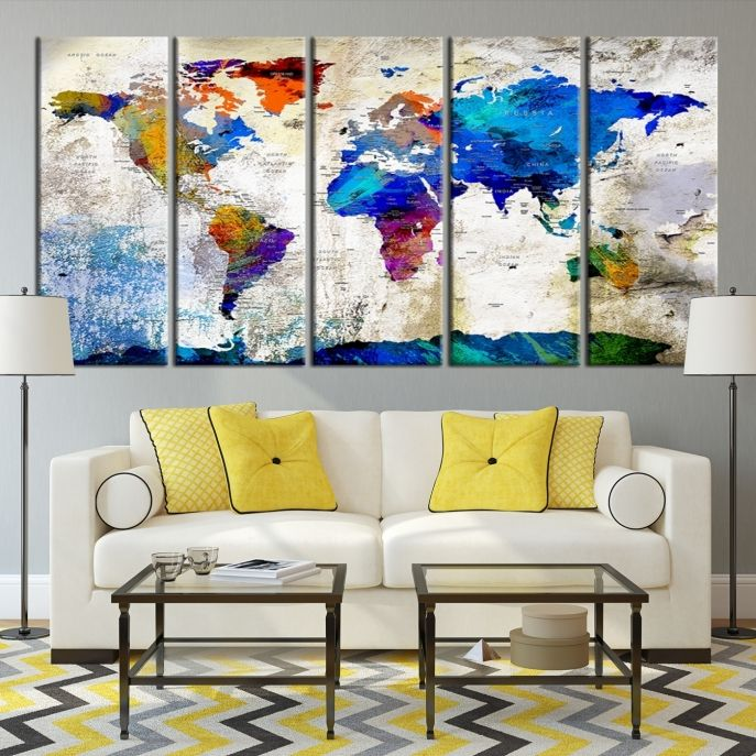 Vintage world map canvas art set of three for your study within large push pin watercolor world map canvas print gumiabroncs Gallery