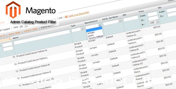 Magento Admin Catalog Product Filter (Magento Extensions)