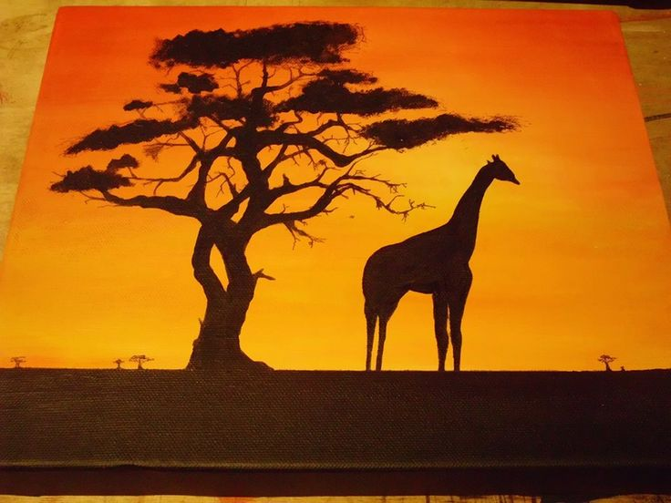 Something for dads birthday, acrylic on canvas - African landscape and giraffe - Emily Jade
