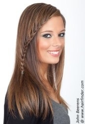 Long straight hair with a braid on one side. http://www.hairfinder.com/hairstyles7/jbeerens-winterhairstyle4.htm