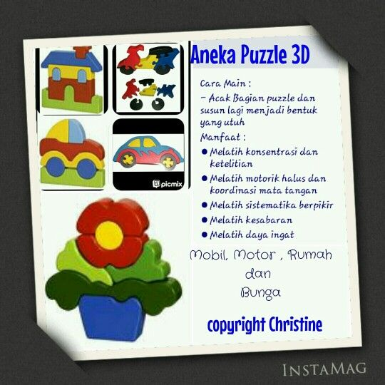 Aneka Puzzle 3D #mainanedukasi #mainanpaud #mainanplaygroup #mainankayu #puzzle #puzzleanak #mainananak #motorikhalus #latihkoordinasimatadantangan #dayaingatanak #warna #anak #batita #balita #kadoanak #suveniranak #hadiahanak #puzzle #sabar #bunga #mobil #rumah #motor #educationaltoys #kids #toodlers #woodentoys  WA +6283863275962 CP : Christine