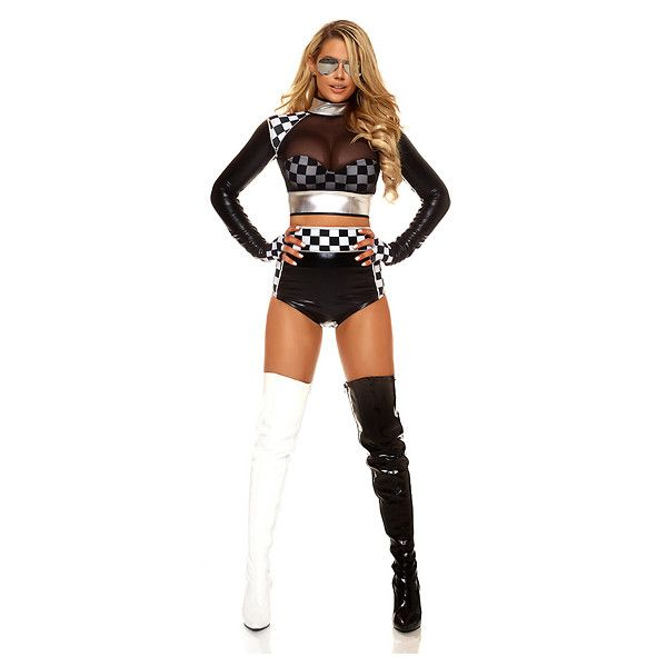 Fast Lane Racer Costume for Women ($50) ❤ liked on Polyvore featuring costumes