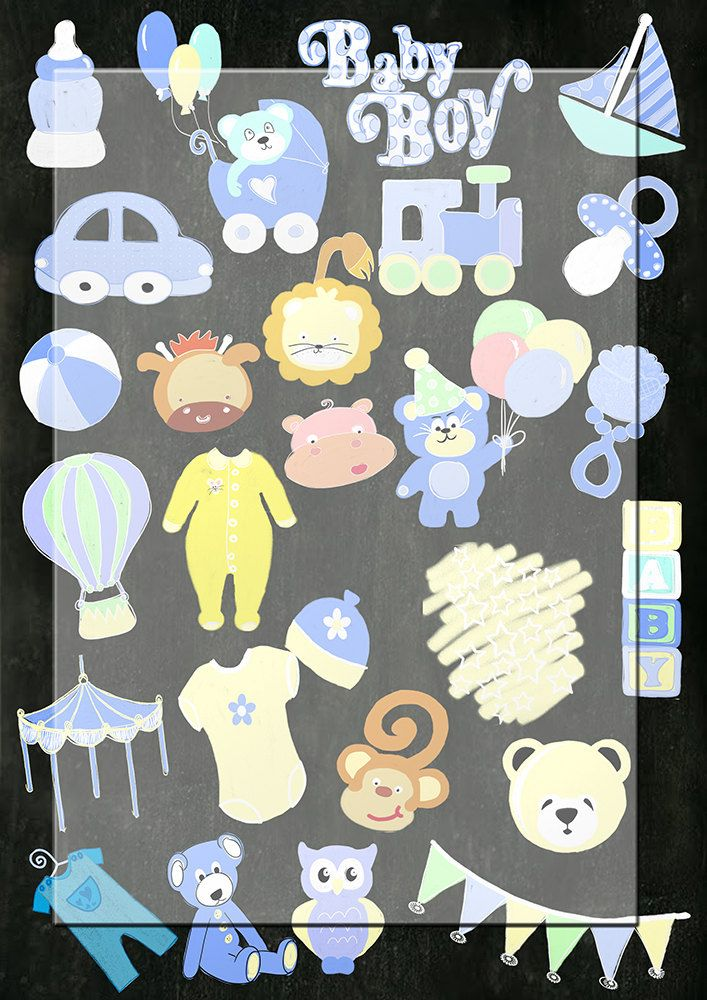 Handrawn png images...Chalk baby boy shower images..Chalkboard Clipart, by Lilymelba on Etsy