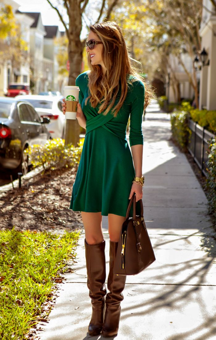 Green Double Cross Dress from The Mint Julep - fall fashion favorite!
