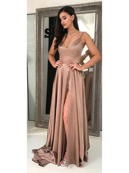 8ee77e6d1b0 Long Cheap Simple Prom Dress Side Slit Pocket Spaghetti Strap Prom Dresses  APD3400 in 2019