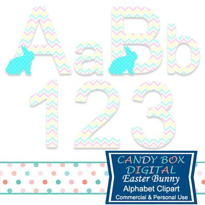 Easter Bunny Alphabet Clipart by Candy Box Digital. Soft pastel colors and patterned bunnies make for some a cute alphabet for scrapbooks, journals, announcements, invitations to an Easter party, or a fun Easter website or blog - Candy Box Digital