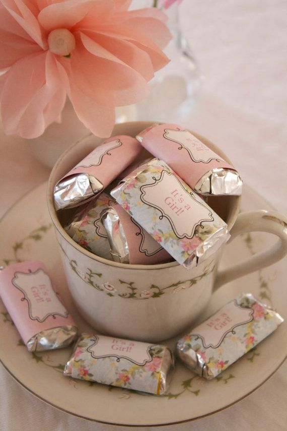 Shabby Chic Sweets :): Candy Bars, Candy Bar Wrappers, Shabby Chic, Shower Favors, Candy Wrappers, Teacups, Teas Parties, Baby Shower
