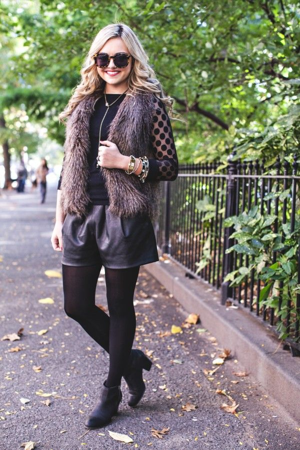All Black Outfit, Fall, Faux Fur, Vest, Tights