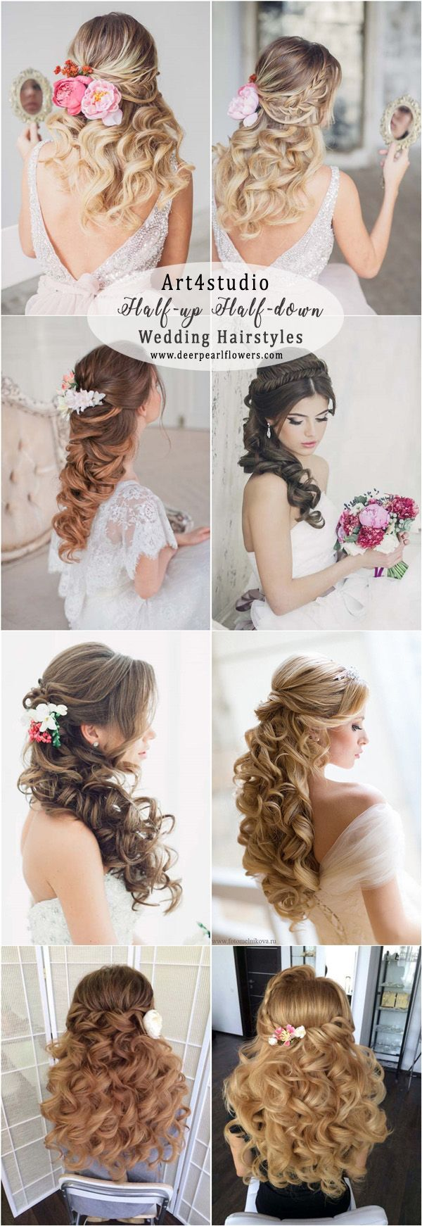 Art4studio half up half down wedding hairstyles #weddings #weddingideas #hairstyles #fashion ❤️ http://www.deerpearlflowers.com/half-up-half-down-wedding-hairstyle-ideas/