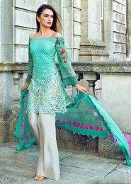 Party Wear Green Georgette Heavy Embroidery Work Salwar Kameez