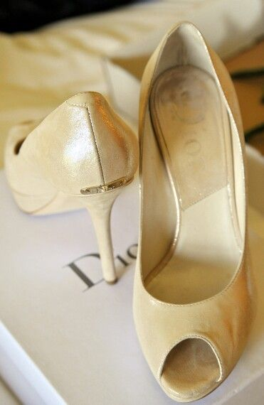 Gold shoes from dior. Elegant and glamour style.