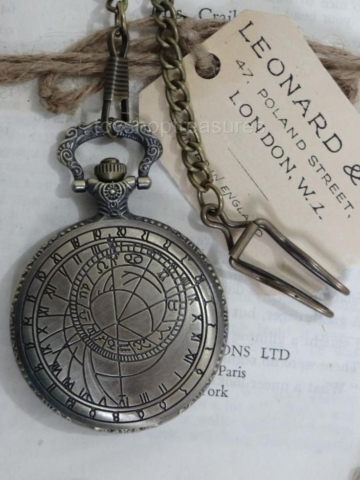 Vintage Bronze Astrology Fob Pocket WATCH - Detailed back STEAMPUNK