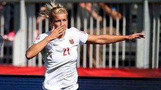 Ada Hegerberg of Norway celebrates her goal