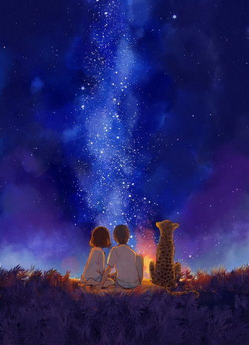 Boy, Girl, Night, Watching The Stars, Cheeta.