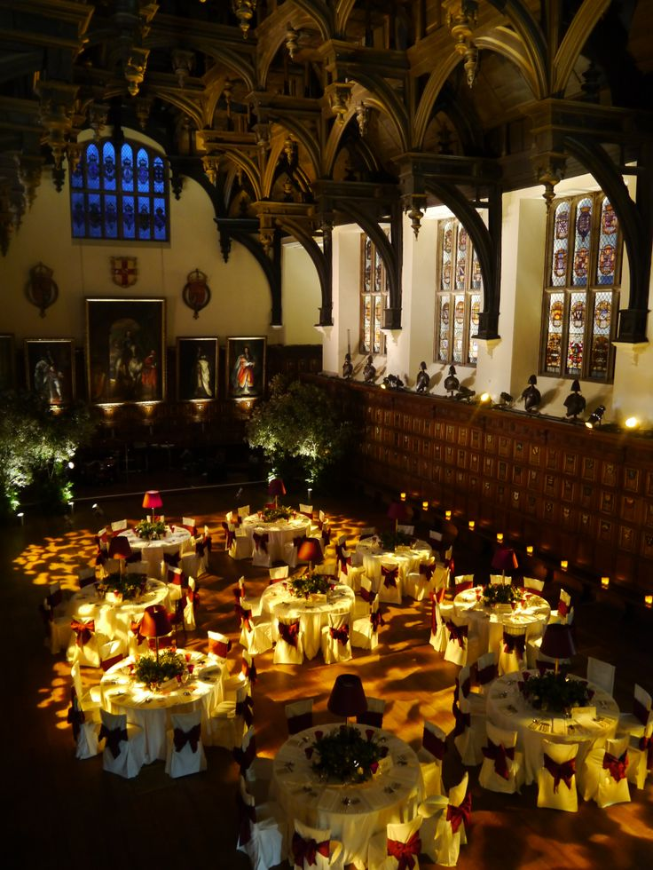 Middle Temple Hall looking stunning with uplighters and dimmed lights