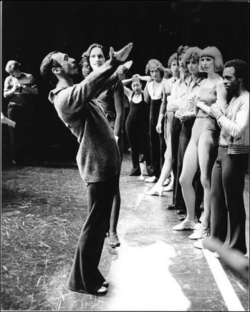 "Classic photo of Michael Bennett rehearsing the original cast of ""A Chorus Line"""