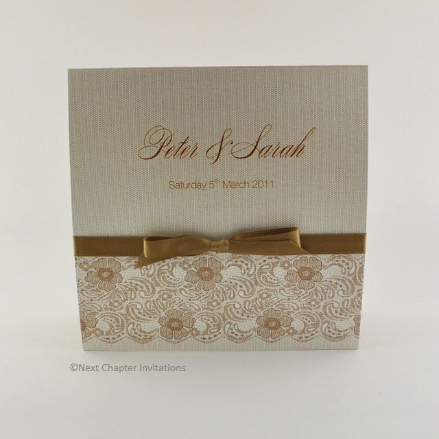 VITTORIA  A beautiful wedding invitation with nude and cream hues, perfectly matched to Valencia Latte lace and latte mesh to recreate the vintage charm of Italian lace. It's finished beautifully with a sable satin bow and includes a matching metallic nude envelope. Price: $5.95 https://www.facebook.com/NextChapterWeddingInvitations
